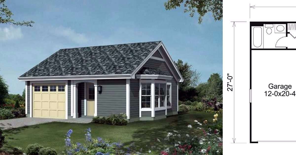6 floor plans for tiny homes that boast an attached garage for Small home plans with garage